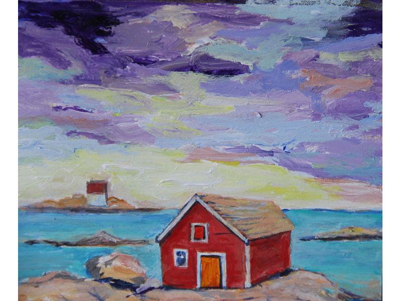 "Red Shack - acrylic 6"" x 6"" by Carmel Bouzanne"